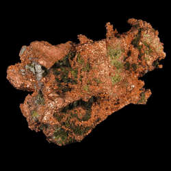 Mineral Specimen: Silver on Copper Halfbreed with Epidote and Calcite from Caledonia Mine, Ontonagon Co., Michigan, USA