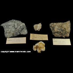 Minerals Specimen: 4 Mineral Specimens Containing Moybdenite, Scheelite, Calcite, Stilbite, Laumontite from Pine Creek Mine (Black Monster Mine; Snow Queen Mine; Pine Creek Tungsten Mine & mill; Pine Creek apt plant; Pine Creek custom mill), Scheelite, Bishop District (Tungsten Hills District), Inyo Co., California