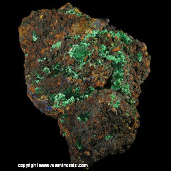Minerals Specimen: Malachite, Minor Azurite from Silver Bill Mine, Costello Mine group, Gleeson, Turquoise Dist., Dragoon Mts, Cochise Co., Arizona