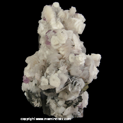 Mineral Specimen: Twinned Calcite, Chalcopyrite, Fluorite, Ferberite and Minor Muscovite on Quartz Crystal from Yaogangxian Mine,  Yizhang Co.,  Chenzhou Prefecture,  Hunan Province,  China