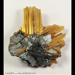 Minerals Specimen: Rutile epitaxial growth on Hematite from Novo Horizonte, Bahiai, Brazil