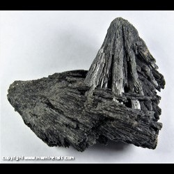 Mineral Specimen: Black Kyanite with Included Graphite ( Vassourinha - Witch's Broom) from Ribeirao da Folha, Minas Novas, Minas Gerais, Brazil